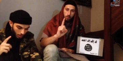 A Still Image Taken On July 28, 2016 From An Undated Video Posted On Social Media Shows Two Men That The Islamic State Said Were The Attackers Of A Church In France Seated On The Ground At An Unknown Location. Social Media/Handout Via Reuters   ATTENTION EDITORS - THIS IMAGE WAS PROVIDED BY A THIRD PARTY. EDITORIAL USE ONLY. NO RESALES. NO ARCHIVE. REUTERS IS UNABLE TO INDEPENDENTLY VERIFY THIS IMAGE. - RTSK1ET