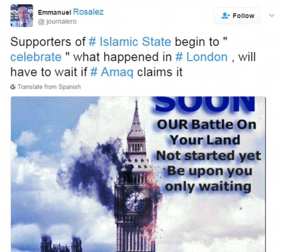 Sick ISIS Posts Celebrates 'blessed London Attack' With 'Allahu Akbar' Next To Horrific Photos Of The Attack  Rebecca Taylor
